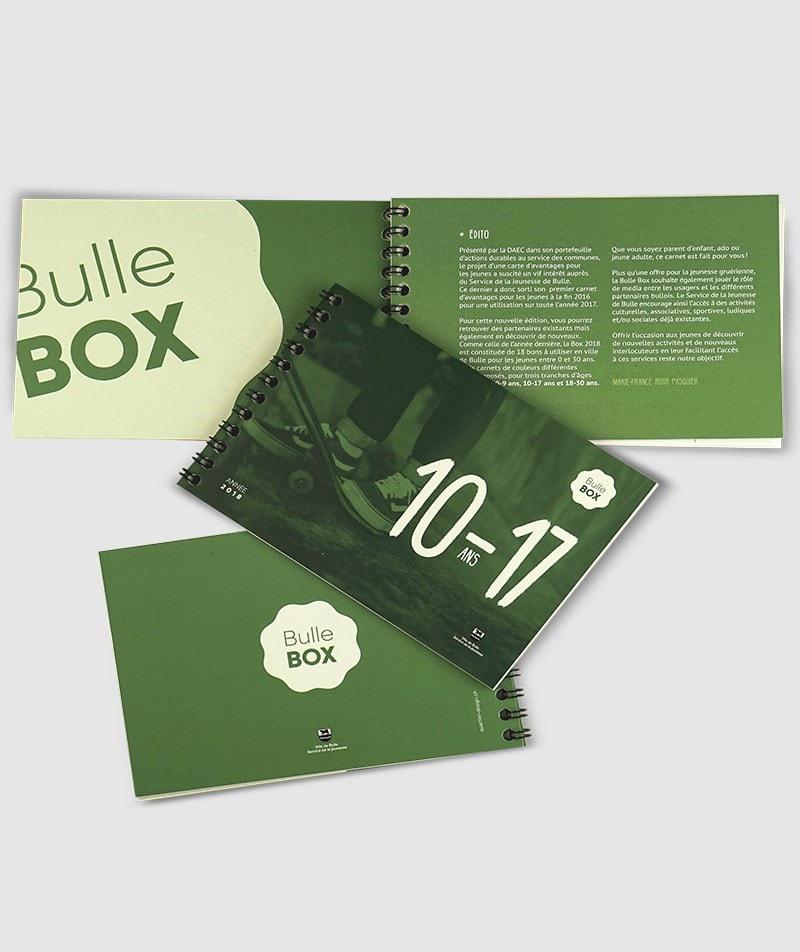 Ligne graphique carnet bons bulle box