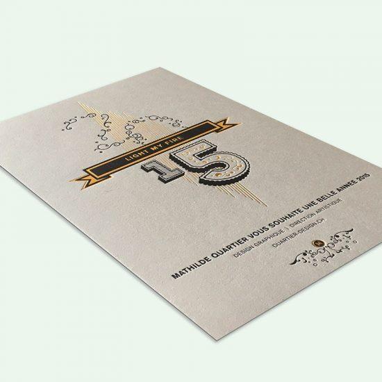 carte de voeux or et noir letterpress design quartier design