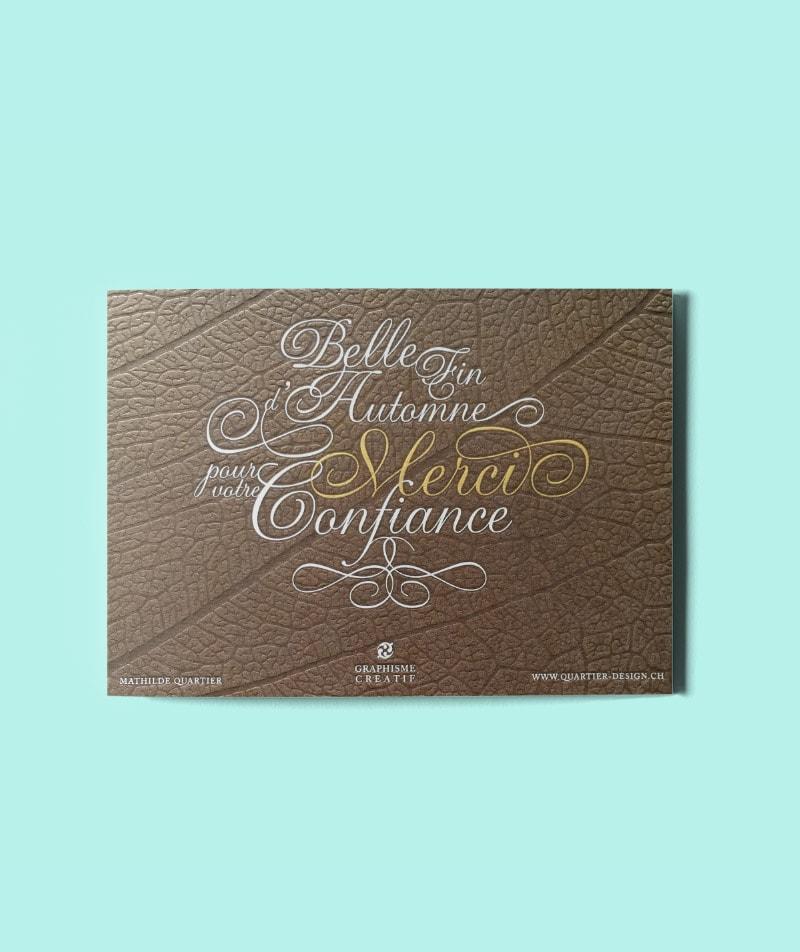 carte de voeux automne or et argent letterpress design quartier design