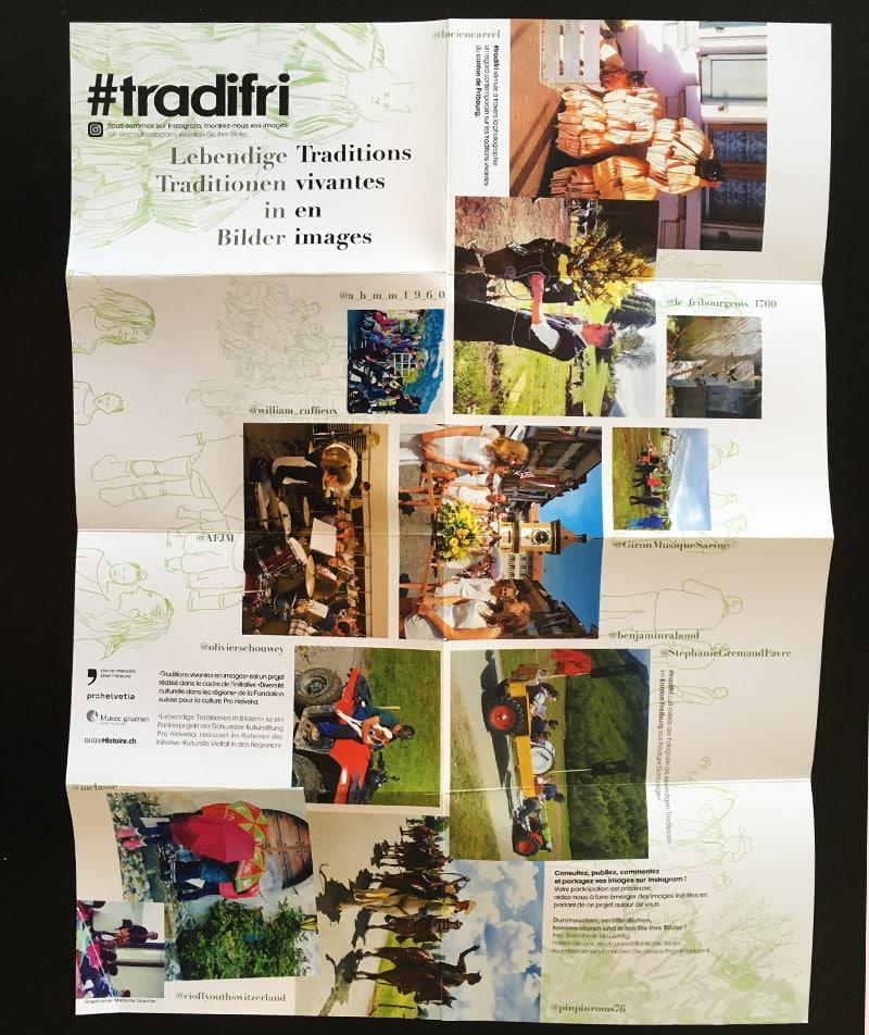 dépliant tradifri avec illustrations et photo des traditions fribourgeoises