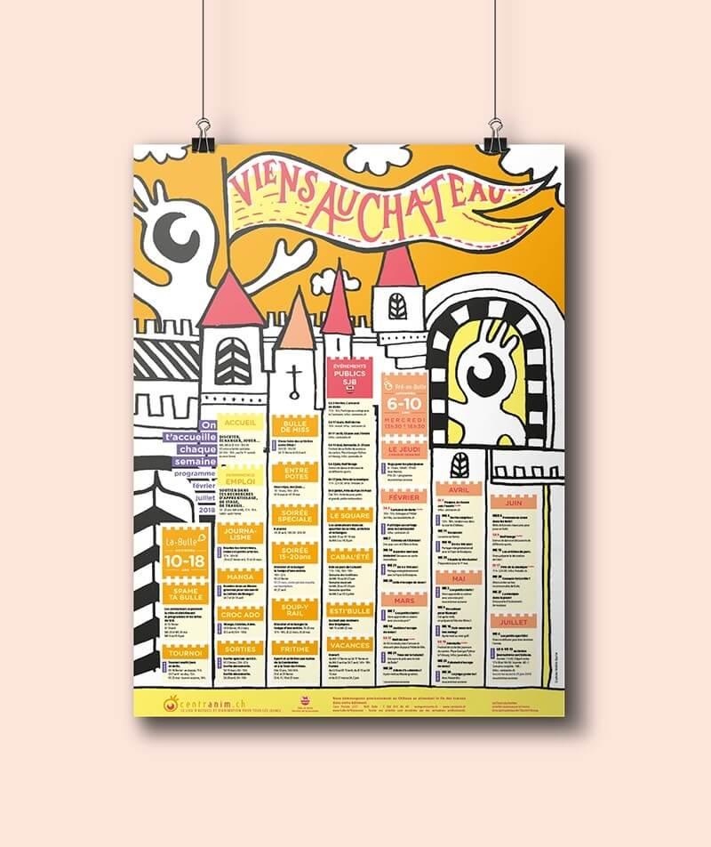 Affiche programme illustration identité graphique Bulle