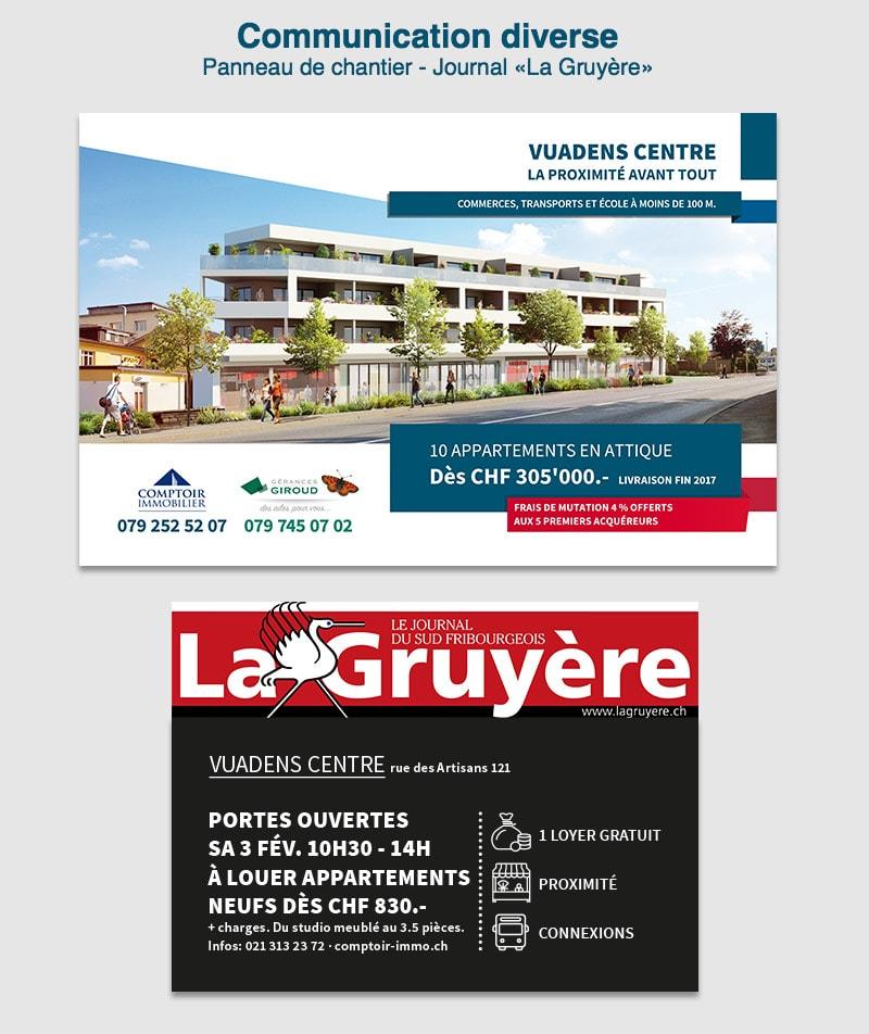 panneau de chantier et annonce appartement Vuadens centre atlantis center