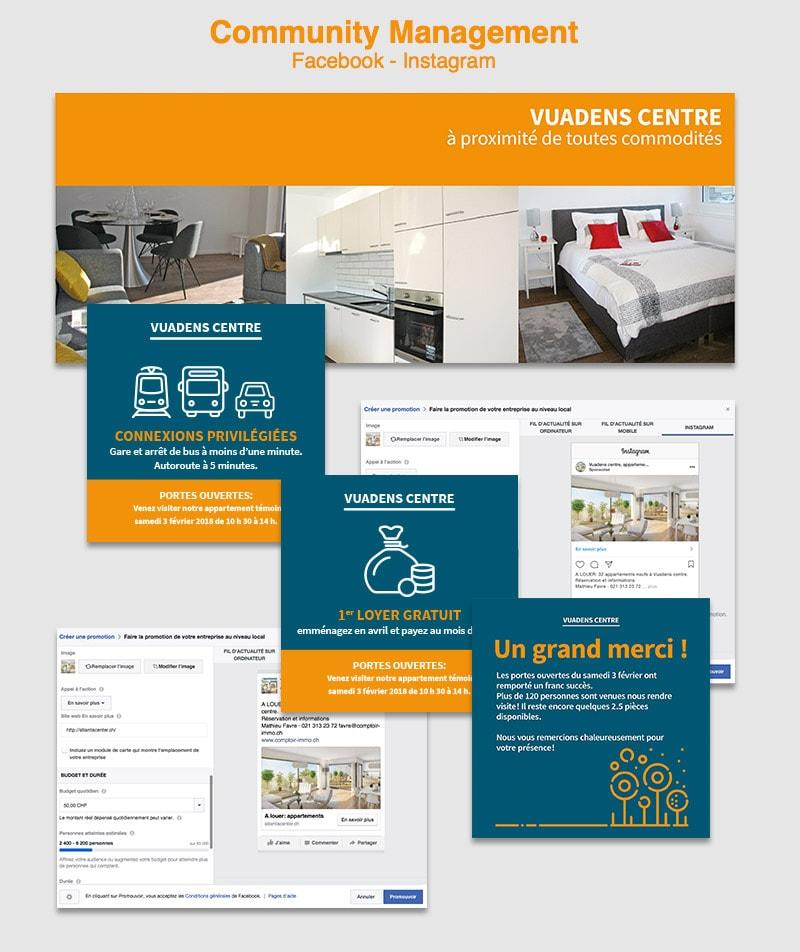 stratégie de communication digital et print appartement Vuadens centre atlantis center