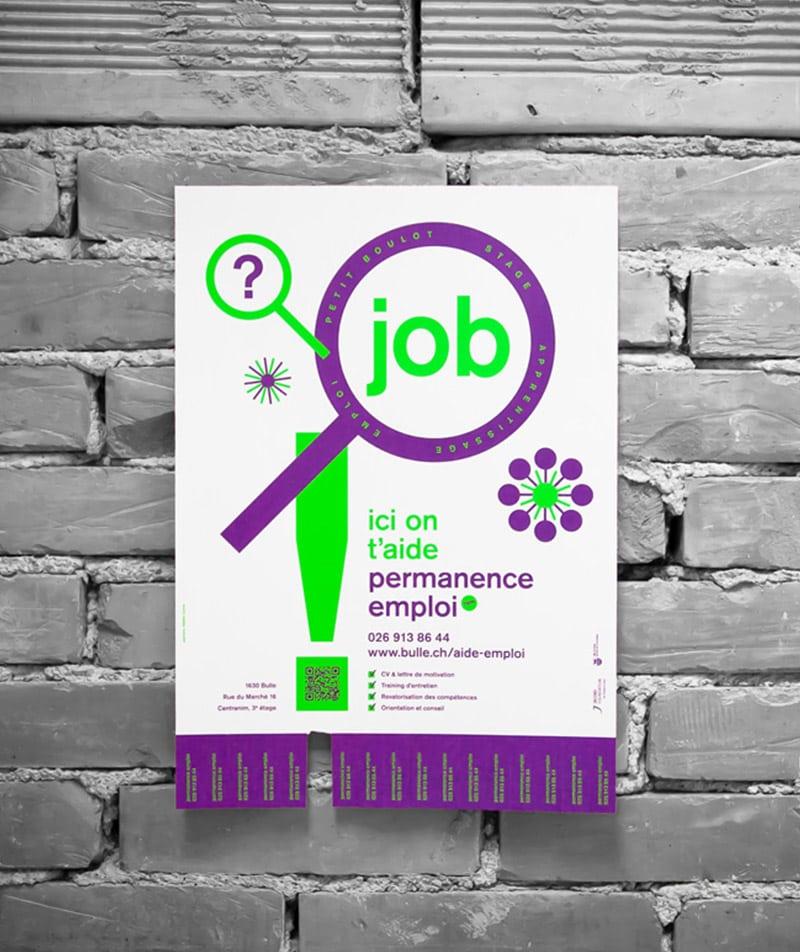 Affiche permanence emploi Bulle sérigraphie fluo