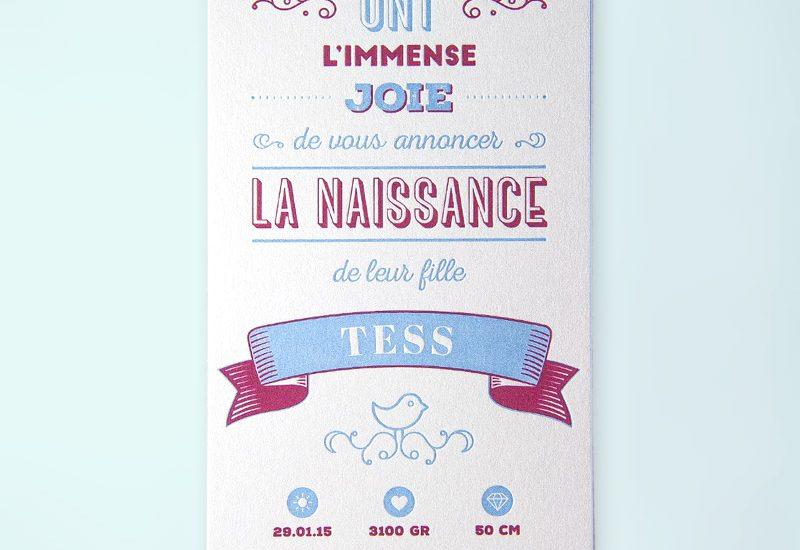 faire-part-naissance typographique letterpress