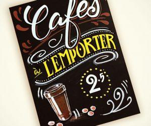 Lettering tableau noir pour café