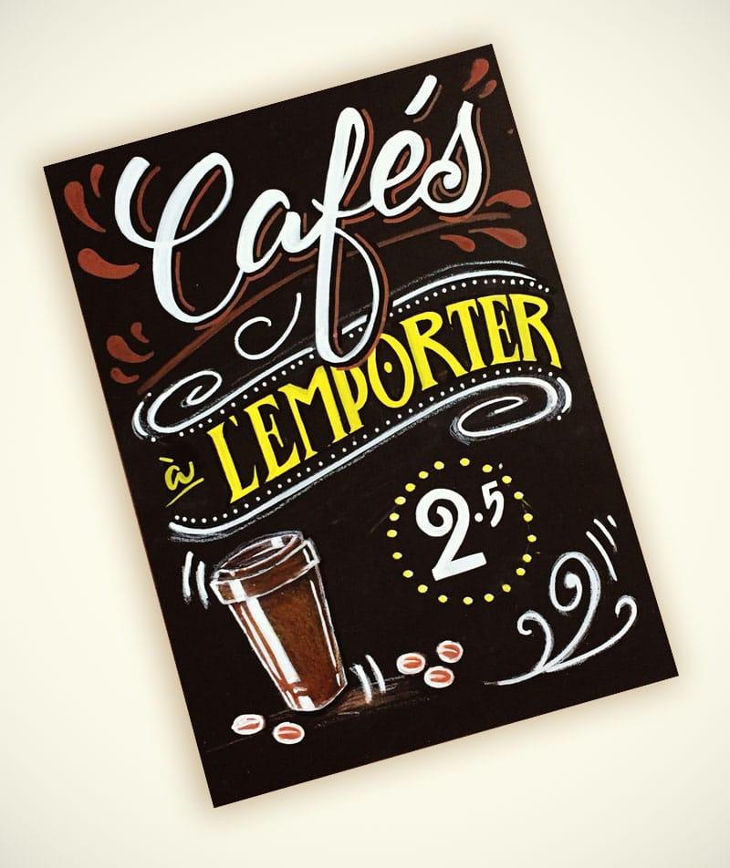 Tableaux noir de menu pour restaurants avec calligraphie et illustrations sur mesure pour cafés à emporter