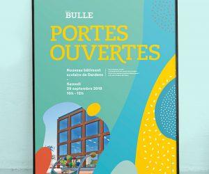 Affiche portes ouvertes bâtiment scolaire de Dardens à Bulle