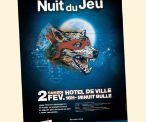 Affiche Nuit du jeu à Bulle avec un loup