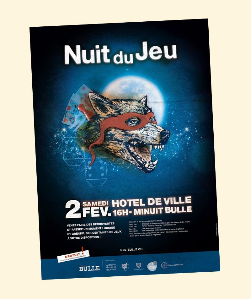 Affiche création graphique Nuit du jeu Bulle