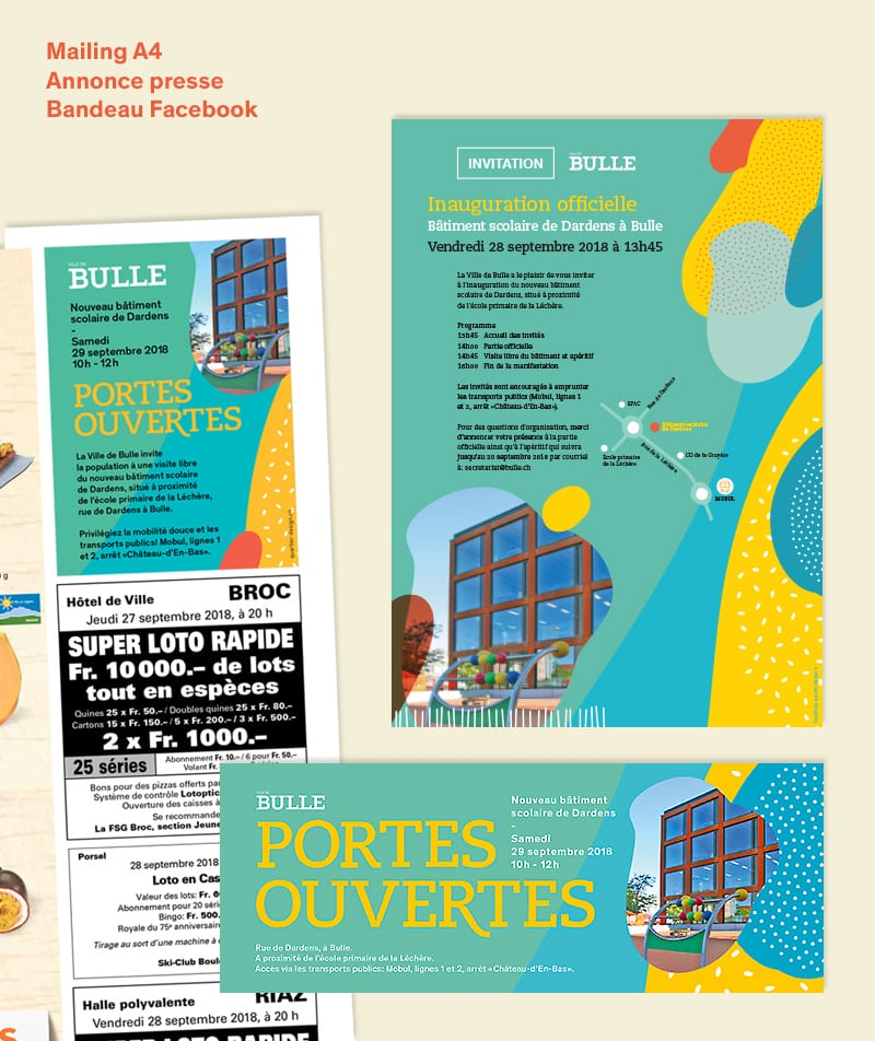 Mailling, annonce et Bandeau Facebook pour la campagne promotionnelle pour portes ouvertes école Bulle