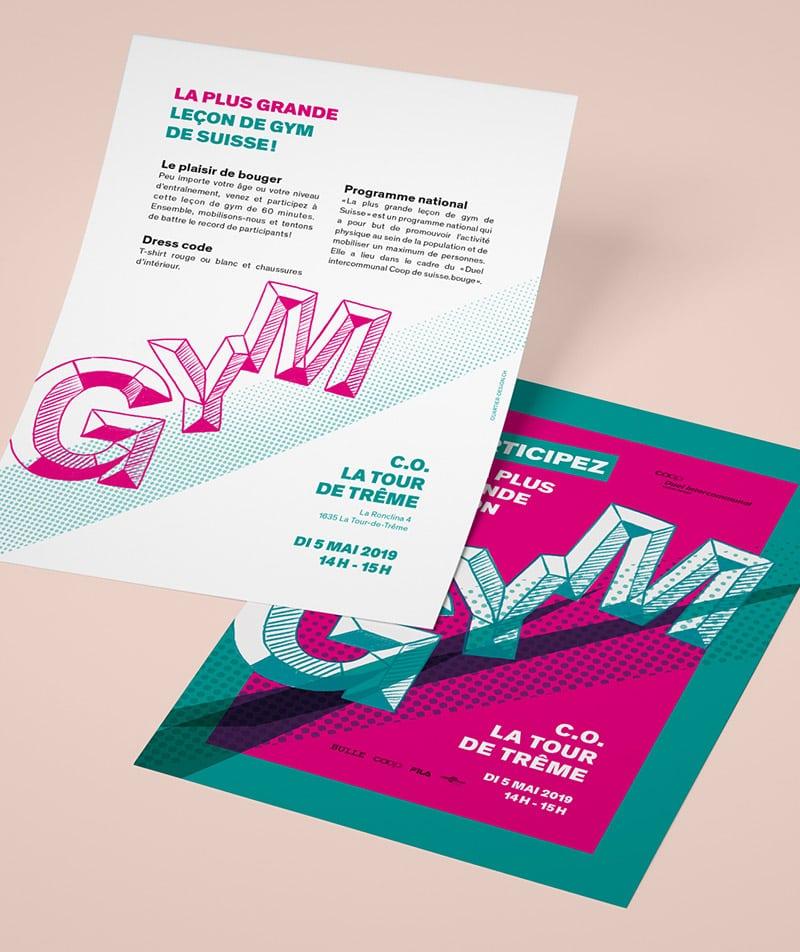 Flyer lettering leçon de gym